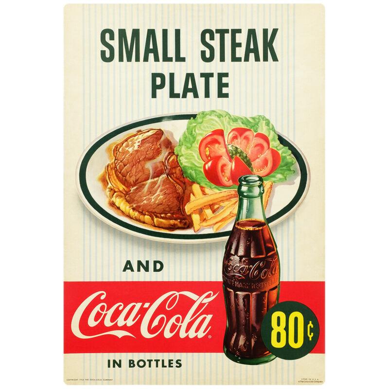 Coca-Cola Small Steak Plate Diner Wall Decal 16 x 24 Kitchen Decor