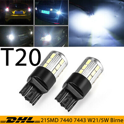 2X T20 7440 W21W 7443 W21/5W 21 SMD LED Tagfahrlicht Blinklicht Standlicht Birne