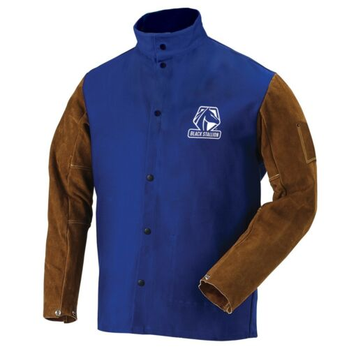 Black Stallion Royal Blue 9oz FR Hybrid Welding Jacket (Large) (FRB9-30C/BS)