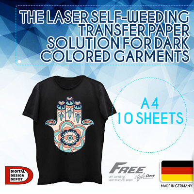 Heat Transfer Paper Laser Self-weeding Trim Free Style For Dark A4 10 Sheets