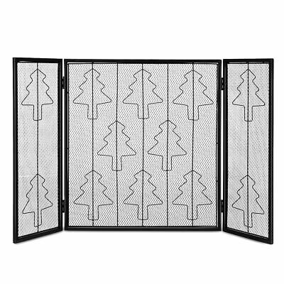 Folding 3 Panel Steel Fireplace Screen Doors Heavy Duty Christmas Tree Decor (Fireplace Christmas Door Decorations)