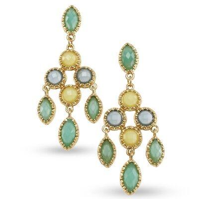 NEW Pastel Green, Blue & Yellow Resin Swining Chandelier Earrings in Goldtone (Blue Pastel)