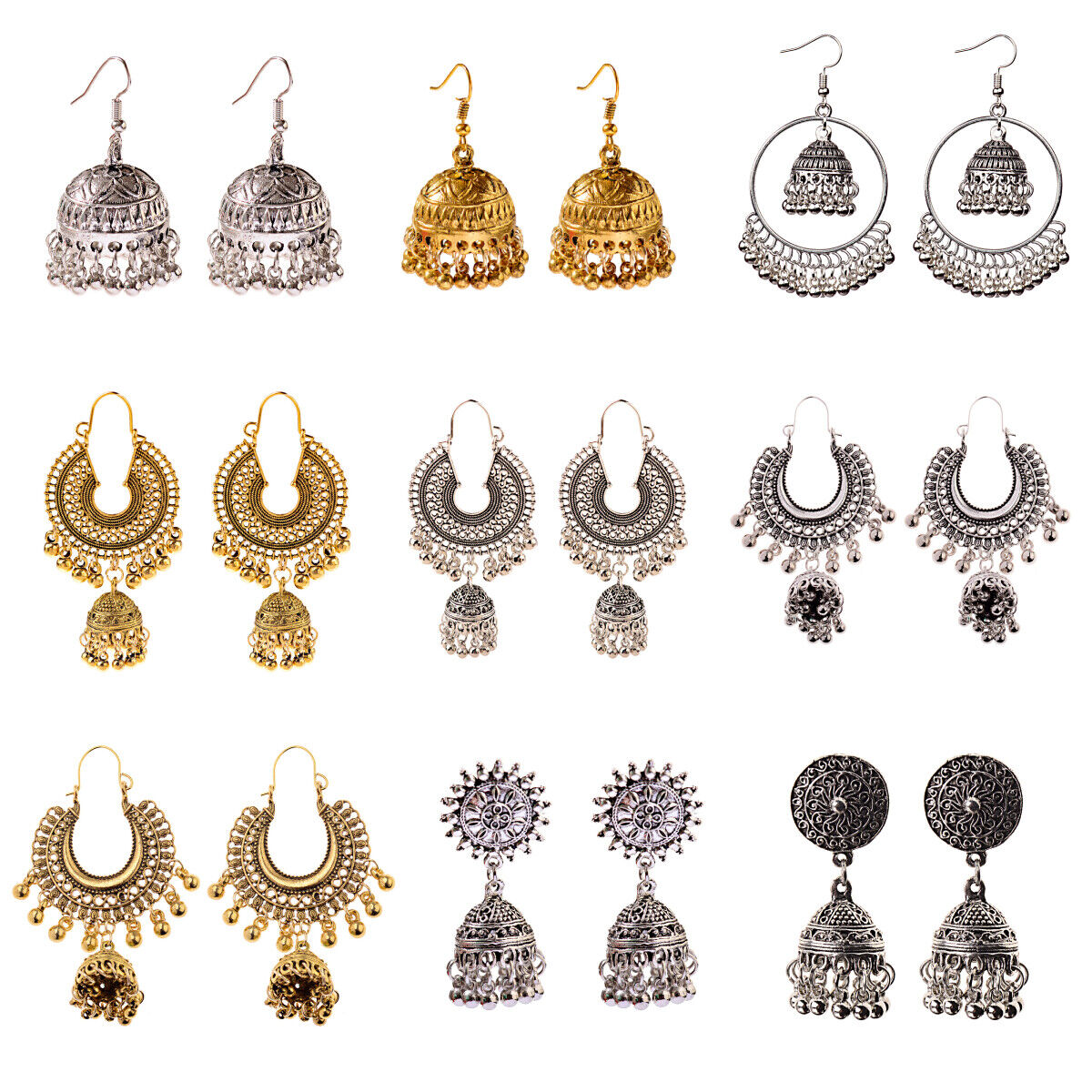 Indian Jhumka Traditional Earrings Gold Silver Jewelry for W