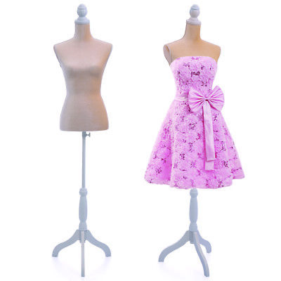 Beige Female Mannequin Torso Dress Form Clothing Display Tripod Stand