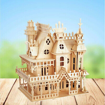 DIY Handcraft Miniature Project Kit Wooden Victorian Doll House Kids Gift Castle