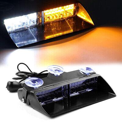 Amberwhite 16led Auto Windshield Strobe Light Emergency Flash Warning Lamps 12v