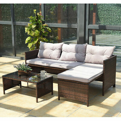 Garden Furniture - 3PC Outdoor Patio Sofa Set Rattan Wicker Deck Couch Garden Furniture