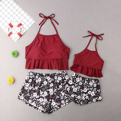 Mother Daughter Matching Swim Costume Floral Print Swimwear Bikini Swimsuit (Mother Daughter Costumes)