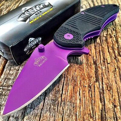 MASTER BALLISTIC TACTICAL Spring Assisted Open Pocket Knife NEW! PURPLE BLADE