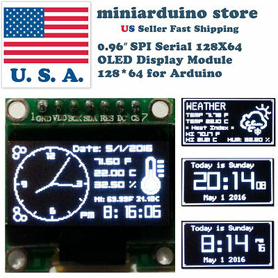 0.96 Spi Serial 128x64 Oled Lcd Led Display Module 12864 White Ssd1306 Arduino