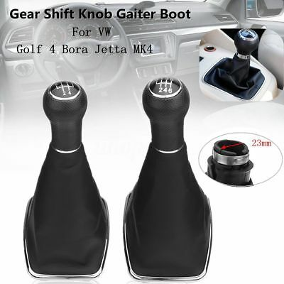23mm 5/6 Speed Gear Shift Knob Gaitor Boot PU Leather For Golf 4 Bora Jetta VW
