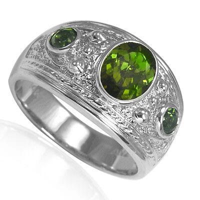 (Etruscan Byzantine Style Green Tourmaline Men's Three-Stone Ring 14k White Gold )