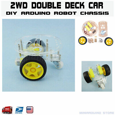 2wd Double Deck Smart Car Robot Chassis Kit Arduino Mcu Tracing Diy