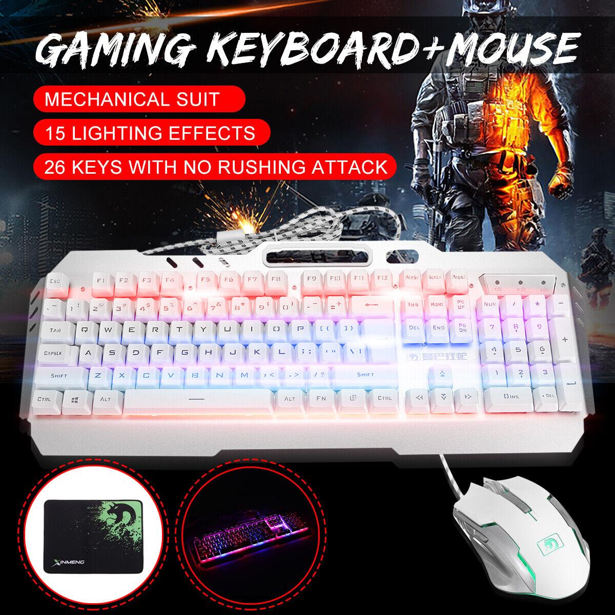 Gaming Keyboard + Mouse + Pad LED Backlit Mute Ergonomic Wir