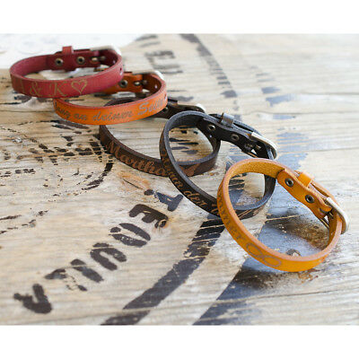 Lederarmband mit Gravur für Herren und Damen Armband mit Schnalle echtes Leder