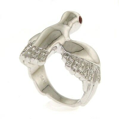New 14K White Gold Diamond and Ruby Peace Dove Ring