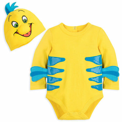 DISNEY STORE FLOUNDER COSTUME BODYSUIT & HAT 3-D FINS & SCALE-TEXTURED STRIPES