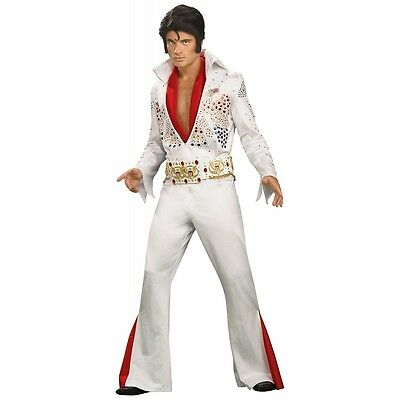 Elvis Costume Adult Rhinestone Eagle White Jumpsuit Halloween Fancy - X Large Male Halloween Costumes