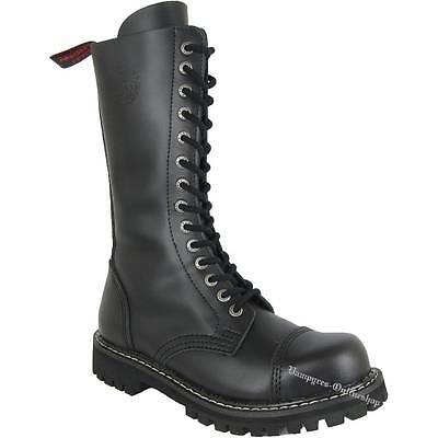 14 Schwarz Leder (Angry Itch 14-Loch Zip Schwarz Rangers Reißverschluss Leder Stiefel RV Nero Noir)
