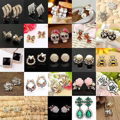 (Elegant Fashion Women Lady Girls Crystal Rhinestone Flower Ear Stud Earrings)
