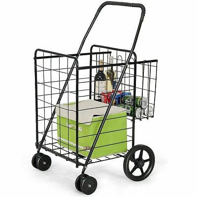 Folding Jumbo Grocery Shopping Cart W Wheels Heavy Duty Metal Laundry Basket