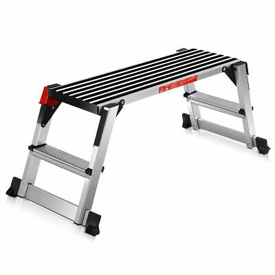 330lbs Aluminum Step Stool Folding Bench Work Platform Non-slip Drywall Ladder