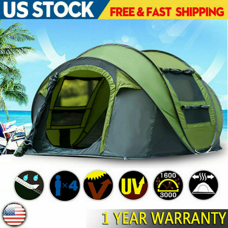 US 3-5 Person Hydraulic Camping Automatic Pop Up Tent Waterproof Outdoor Hiking
