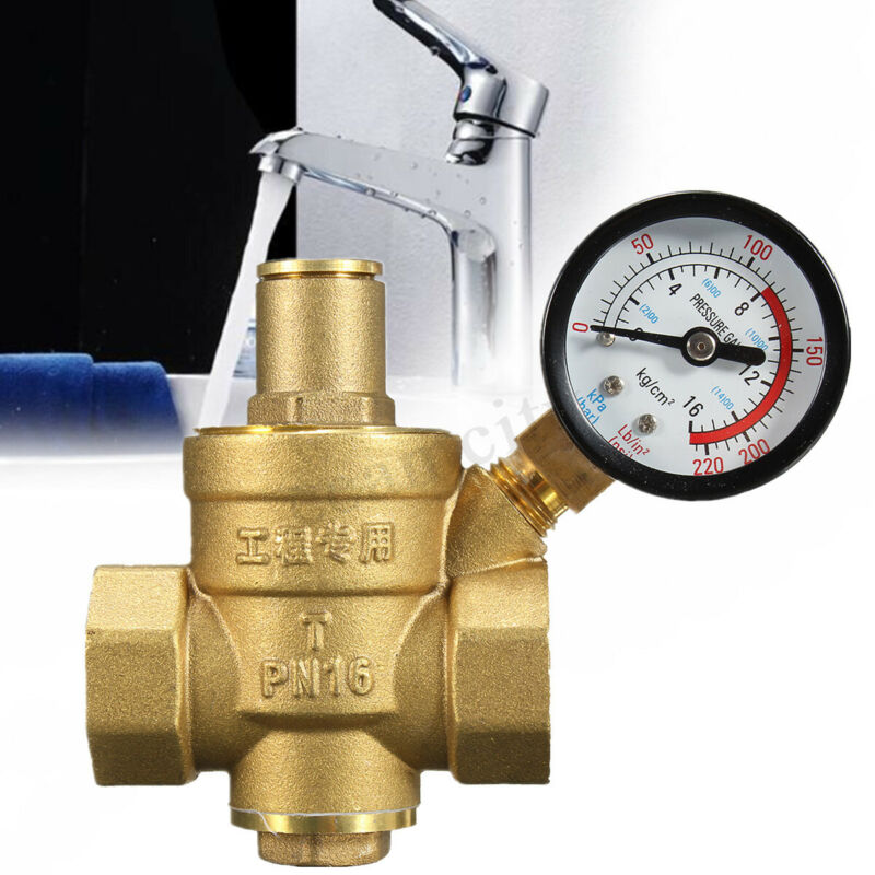 "DN20 3/4"" Adjustable Brass Water Pressure Reducing Regulator Valve + Gauge USA"