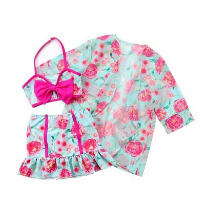 S-1297 3PC Mint/Pink Floral Swim Suit  (Ready to Ship from Ohio-Free Shipping)