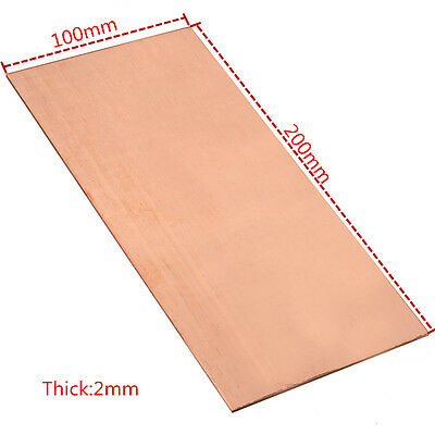 1pc 99.99 Pure Copper Cu Metal Sheet Plate 2mm100mm200mm