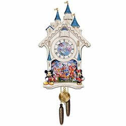 Disney 40 Character Cinderella Castle Cuckoo Wall Clock Happiest of Times NEW