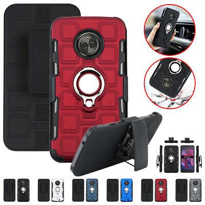 For Motorola G7 G6 G5 G4 E5 E4 C Plus Magnetic Ring Belt Clip Holster Case Cover Clip Case Plus Magnet