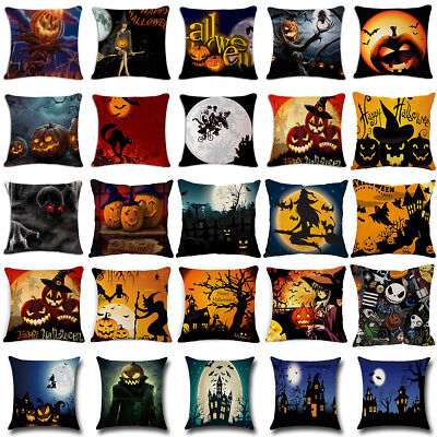 18'Witch Castle Linen Throw Pillow Case Waist Cushion Cover Halloween Sofa Decor - Halloween Witch Castle