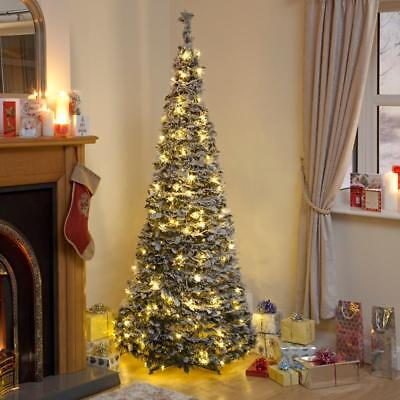 Pre Lit Snow Flocked Pop Up Christmas Tree 1.8m with 200 Warm White LED's