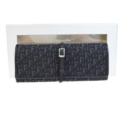 Auth Christian Dior Trotter Pattern Jewelry Case Bag Pouch Canvas Black - Jewelry Dior Bags