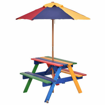 4 Seat Kids Picnic Table w/Umbrella Garden Yard Folding Children Bench Outdoor (Childs Picnic Table)