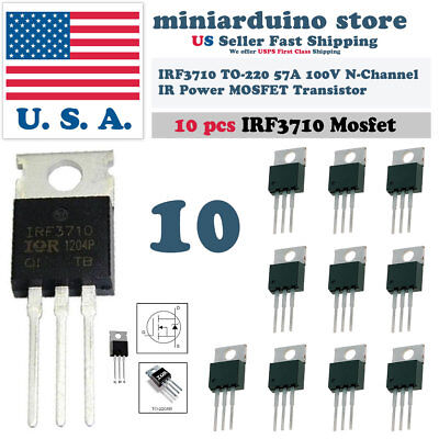 10pcs Irf3710 Irf 3710 N-mosfet 57a 100v To-220 Ir Transistor N-channel