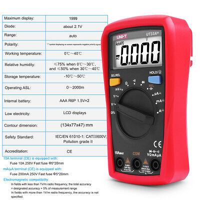 Uni-t Ut33adigital Multimeter Lcd Handheld Auto Range Acdc Ohm Voltage Tester