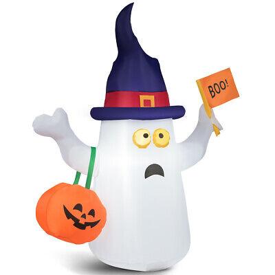 5' Inflatable Blow Up Ghost Halloween Season w/Flag Pumpkin Indoor&
