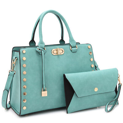 Dasein Womens Handbag Satchel Medium Studs Bag Twist Lock Purse w/ Wristlet ()