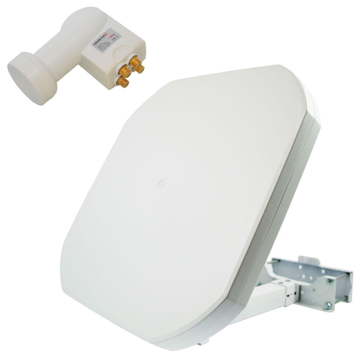 Sat Flachantenne Digital Quad LNB Satellitenanlage 4 Teilnehmer 4K UHD Full HD