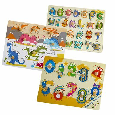 Peg Puzzles Toys - 3pcs Knob Peg Puzzle for Baby Toddlers Alphabet Number Learning Preschool Toy
