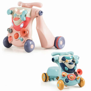 2-in-1 Baby Sit-to-Stand Walker Toddler Ride-On Car Kids Activity Center W/ Toys