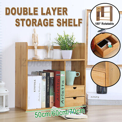 Desktop Bookshelf Countertop Bookcase Wood Desk Organizer With 2 Drawers Kits