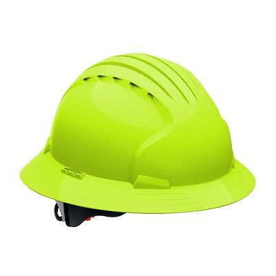 Jsp Full Brim Hard Hat With 6 Point Ratchet Suspension Lime Green