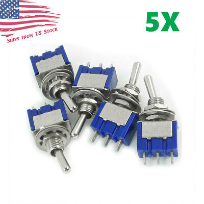 5pcs Mini 3-pin Spdt On-on Toggle Switches 6a 125vac 3a 250vac Mts-102 Us
