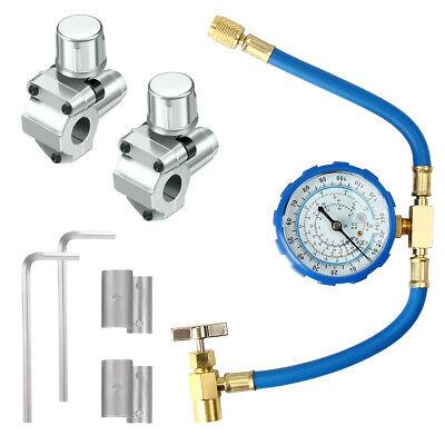 R134A Air Conditioning Refrigerant Charging Hose R12/ R22 +2 BPV-31Taps Valve