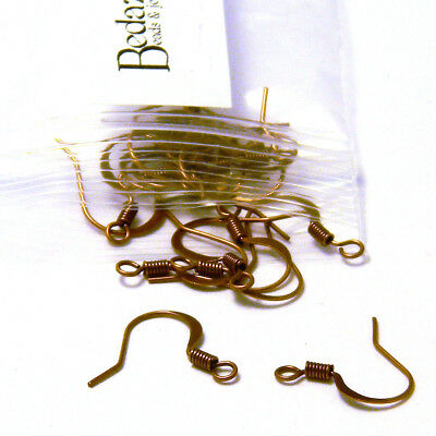 20 Antique Copper Flat Fishhook Hook Earring Findings With Coil & Open Loop Ring for sale  Shipping to India