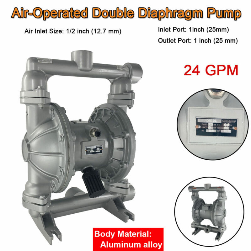"""Air-Operated Double Diaphragm Pump 1"""" Inlet Outlet Petroleum Fluids 24GPM 115PSI"""