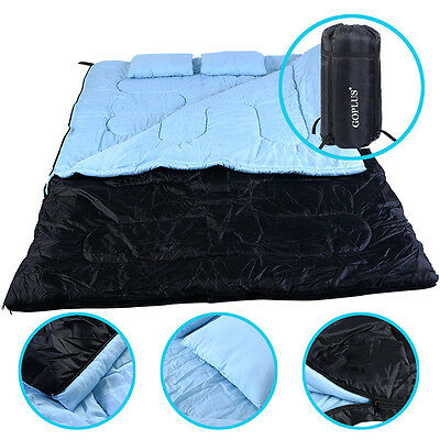 """2 Person 86"""" x 60"""" W /2 Pillows Large Double Sleeping Bag 23F/-5℃ Camping Hiking"""